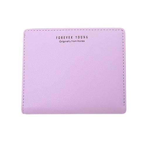 Dairyshop Borsa della borsa della moneta del supporto della carta del raccoglitore della mini di cuoio della ragazza delle donne di modo (Verde chiaro) Viola