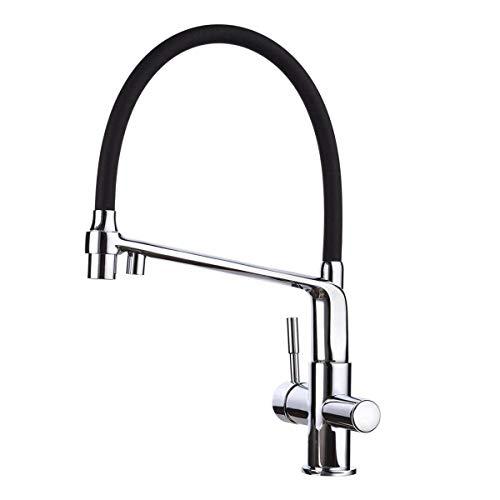 GAPPO 2-Strahlen Küchenarmatur 3 wege Wasserhahn Küche mit Brause schwarz für Küchen Spültischarmatur 360 schwenkbar Mischbatterie, chrom, MEHRWEG
