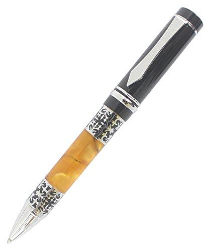 Abcsea Vintage Stile Intaglio Fiore Forma Penna A Sfera Penna D'argento - Nero E Arancione