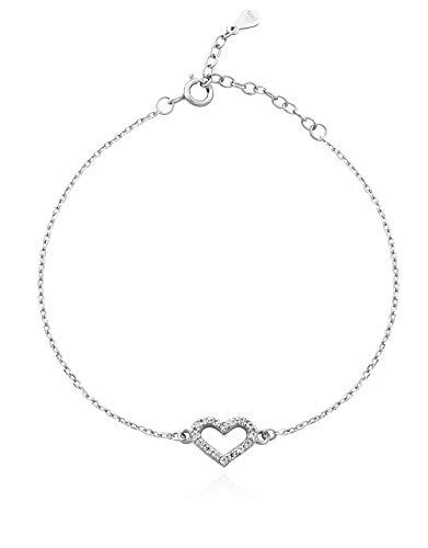 SOFIA MILANI Damen Armband Armkette Herz Love Silber 30086 - Verführerisch Natürliche Licht