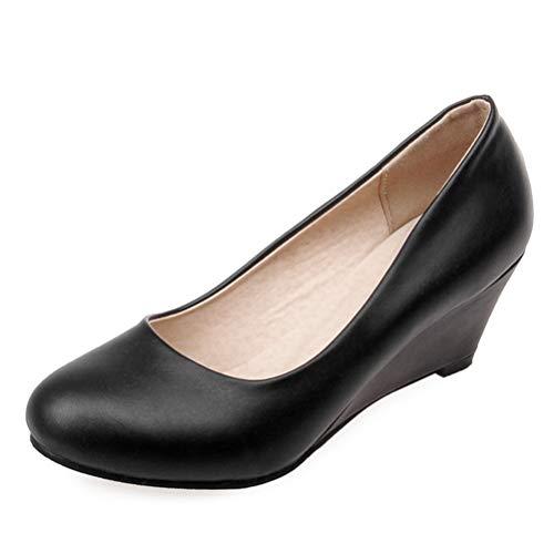 Frauen Keil Pumps Runde Zehe weniger Plattform High Heels Slip auf Office Court Schuhe