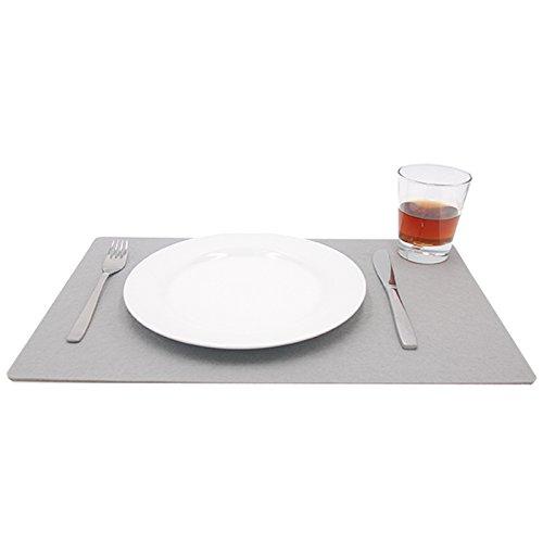 Filzuntersetzer Platzset Platzmatte Tischuntersetzer Glasuntersetzer Tischschoner Filz Untersetzer abgerundet eckig quadratisch ca. 45 x 30 cm für Hochzeit und zur Dekoration (1 Stück – 45 x 30 cm, 86 grau)