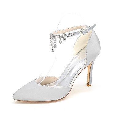 Best 4U® Da donna Scarpe Raso Primavera Estate Decolleté scarpe da sposa Zero / Appuntite Zero Con diamantini Fibbia per Matrimonio Serata e festa red