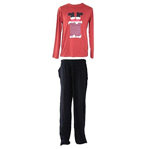 Pull à manches longues et bouton pyjama Long 100% coton pour pyjama Pantalon pyjama Salon Idée de Cadeau de Noël Père Noël Conception de Noël M/XL Rouge - Rouge