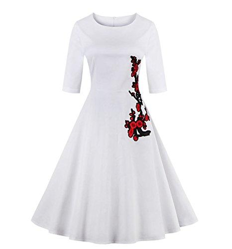 Valin VM131518D Vintage pin-up 50s robe de soirée,bal cocktail Rockabilly Swing,S-XXXXL Blanc