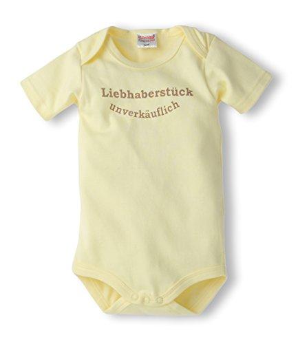 Schnizler Unisex Baby Body kurzarm mit Spruch: Liebhaberstück unverkäuflich, Gr. 74 (Herstellergröße: 74/80), Gelb (gelb 12)