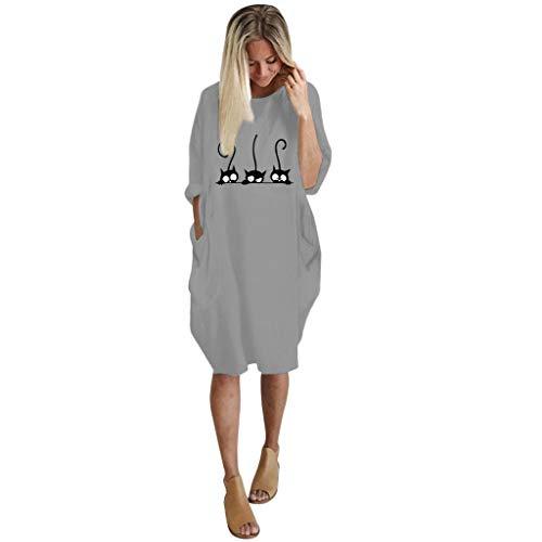 VEMOW Strandkleider Knielang Damenmode Tasche Lose Kleid Damen Rundhalsausschnitt beiläufige Tägliche Lange Tops Kleid Plus Größe Mode für Mollige Frauen(E-Grau, EU-54/CN-4XL)
