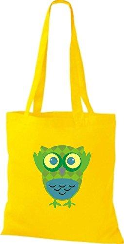 ShirtInStyle Jute Stoffbeutel Bunte Eule niedliche Tragetasche mit Punkte Karos streifen Owl Retro diverse Farbe, blau gelb