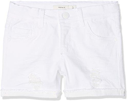 NAME IT Mädchen NKFSALLI DNMTHYRA 8001 NOOS Shorts, Weiß (White Denim), 110 - Mädchen Jeansshorts
