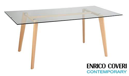 Enrico Coveri Contemporary Tavolo Moderno in Vetro Temperato, Perfetto per Sala da Pranzo, Salotto, Cucina e Ufficio, Dimensioni 180 x 90 x 75 Cm
