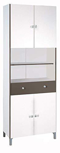 habeig Hochschrank #540 weiß Basalt Küchenschrank Küchenregal Schrank Küche Buffet Regal -