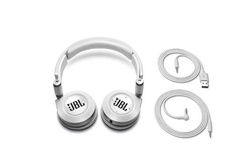 JBL E40 BT - Auriculares supraaurales inalámbricos para dispositivos iOS y Android (estéreo, almohadillados recargables), color blanco