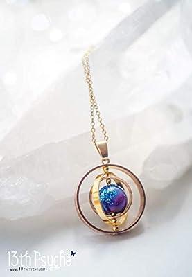 Bijoux Galaxie, collier rotatif, collier galaxie, bijoux pour espace, bijoux célestes, cadeau unique pour femmes, collier planète, pendentif pivotant, collier pour nébuleuse, collier Nasa.