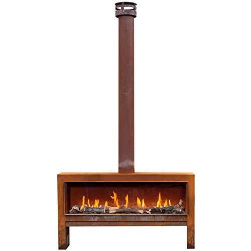 Faber themood [gaskamin Uso Al Aire Libre ]: CORTEN acero oxidado - Gas Natural Cable H GAS - Madera...