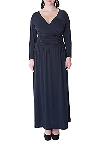 Wicky LS Women's Plus Size V Neck Dress Long Evening Gowns Style 2 Blue L