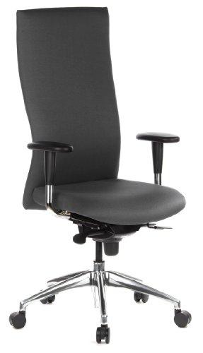 hjh OFFICE 710525 chaise de bureau, siège pivotant haut de gamme MOVE-TEC anthracite avec accoudoirs et dossier extra-haut, revêtement en tissu de qualité anti-abrasif, piètement robuste et stable en alu