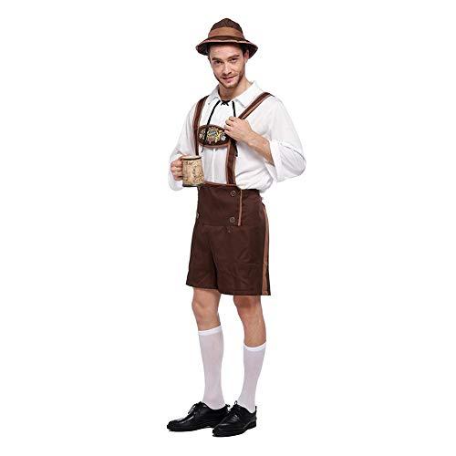 (Herren Oktoberfest Kostüm, Oktoberfest Bayerische Deutsche Lederhosen Kostüm Karneval, Kurze Hose mit Hosenträgern, Oberteil und Hut)