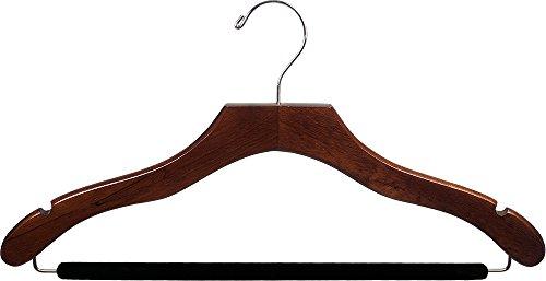 Der Great American Kleiderbügel Company Holz Walnuss-Finish Aufhänger mit rutschfesten Bar & Kerben (Box Of 100)