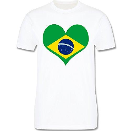 Länder - Brasilien Herz - Herren Premium T-Shirt Weiß