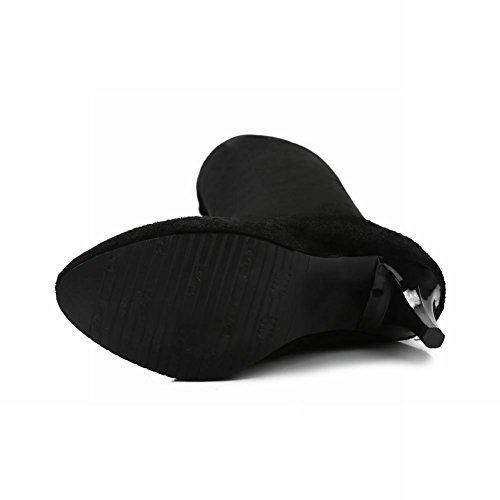 Mee Shoes Damen langschaft high heels Nubukleder Stiefel Schwarz