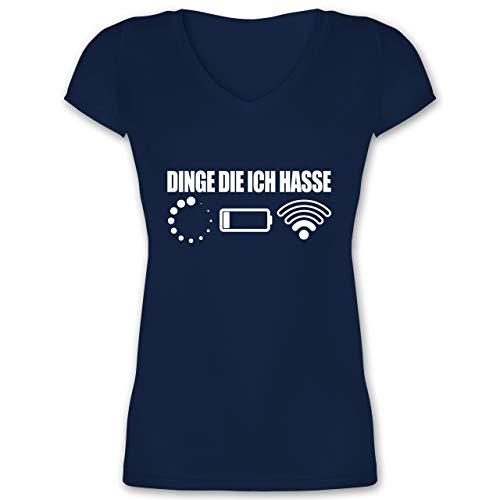 Nerds & Geeks - Dinge die ich Hasse - weiß - M - Dunkelblau - XO1525 - Damen T-Shirt mit V-Ausschnitt -