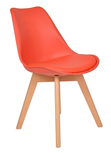 Küche Stuhl Polster (1x Design Wohnzimmer Esstisch Küchen-Stuhl Esszimmer Sitz Polster Kunstleder Lederimitat Retro Design Lounge-Möbel Holz Rot)
