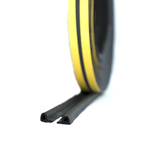 Antispifferi assortito da 10 m, in gomma EPDM, per finestre o porte, Silicone, nero, Profilo P