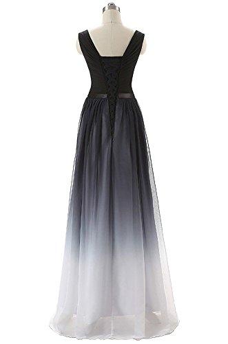 Bridal_Mall Robe de soirée pour femme- Robe longue au dos nu en mousseline multicolore Weiß-V