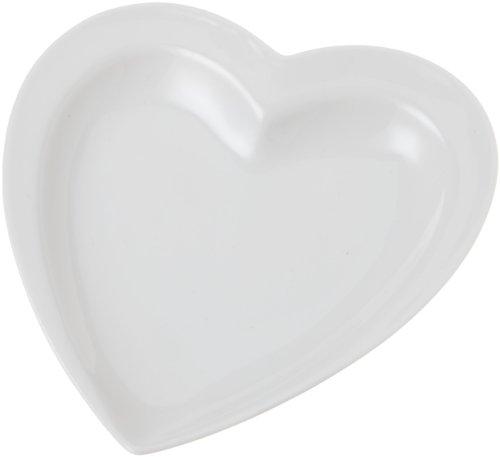 Tognana 16 x 15 x 2 cm-Mini Partyen porcelaine en forme de cœur-plaque-Blanc cassé