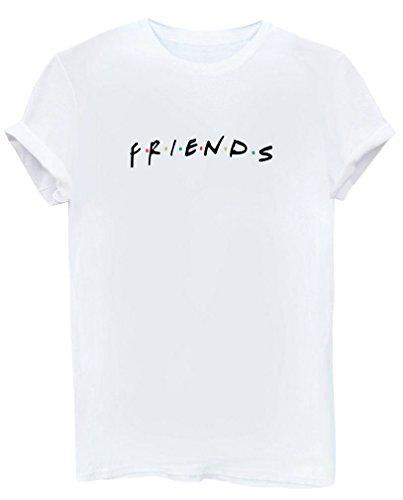 Foto de BLACKMYTH Mujer Moda Redondo Algodón T-Shirt Señoras Impresion Camisetas Manga Corta Tees Blanco Medium