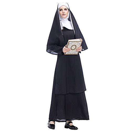 Nonne Cosplay Kostüm Halloween Kostüm Missionar Pastor Kleidung Maria Kostümfest Film Kleidung,Black-XXL