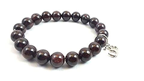 New Year Sale ! Garnet Beads Bracelet With OM Charm Natural Semi Precious Stone Beads Size - 8mm Crystal Reiki Healing Stone For a stone of regeneration and energizing Free Set Of 3 Lapis Lazuli Pyramid