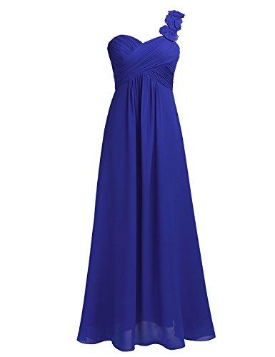Freebily Damen One Shoulder Chiffon Abendkleider Brautjungfernkleid Coctailkleid Hochzeit Party Kleid MaxiKleid Ballkleider lang Blau 42 -