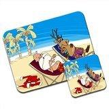 Babbo Natale e renna a vacanza Sottobicchiere