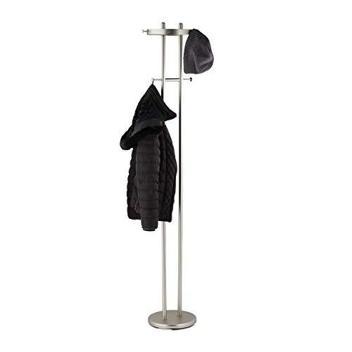 Relaxdays Garderobenständer, matt verchromter Stahl, runder Fuß, Garderobe mit 8 Haken, Flur, HBT: 183x37x34cm, Silber