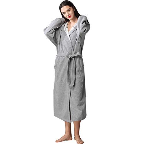 Huifei hotel cotton accappatoio assorbente coppia accappatoio con cappuccio in cotone di grandi dimensioni, lungo pigiama lungo (colore : gray, dimensioni : 50-130kg)