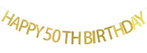 Happy 50th Birthday Banner Gold Glitter Party Wimpelkette - 50. Geburtstag Party Dekorationen Supplies (50 Geburtstag Zeichen)
