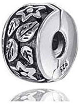 MATERIA 925 Silber Beads Stopper Clip Bead antik Blume - 8x11mm für 3mm Beads Armbändern mit Gewinde #727