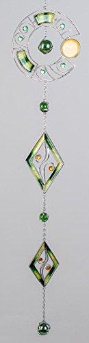 formano Moderne Deko für das Fenster-Hänger Dekohänger Glasbild Fensterdeko Tiffany Kreis und Raute Grün Silber 28cm