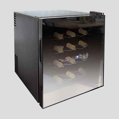 Husky HUS-HN5 Weinkühler für 16 Flaschen, Auftischgerät mit Glastür, Schwarz