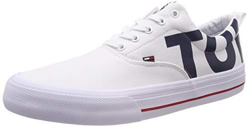 Hilfiger Denim Logo Classic Tommy Jeans Sneaker, Scarpe da Ginnastica Basse Uomo, Bianco (White 100), 42 EU