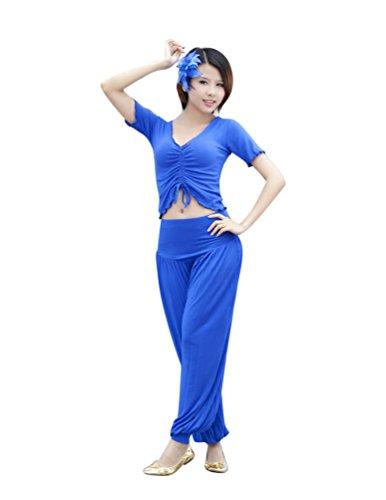 Kostüm Bauchtänzerin Saphir - ZhiYuanan Damen 2Pcs Bauchtanz Kostüm Yoga Kleidung Anzug Kurzarm-Tops & Pumphose Set Saphir