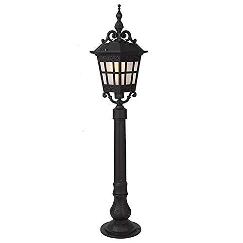 Traditionelle Outdoor-deck (E27 Traditionelle Post Laterne Säulen Licht Schwarz IP44 Outdoor Garten Säulenlampe Dekoration Terrasse Deck Boden Rasen Tischlampe)