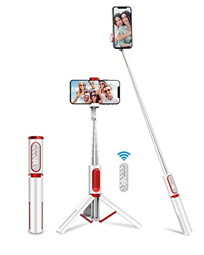 BlitzWolf Bluetooth Selfie Stick Stativ, Aluminium All-In-One Monopod Wireless Selfie-Stange Stab mit Bluetooth Fernbedienung für iPhone 11/11 Pro/11 Pro Max/XS/XS Max/XR/X/8, Samsung, Huawei(Weiß)