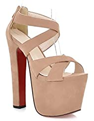 NobS Mujeres High Heles Tacones Chunky Open Toe Sandalias Zapatos Prueba Agua Suede Cross , apricot , 35