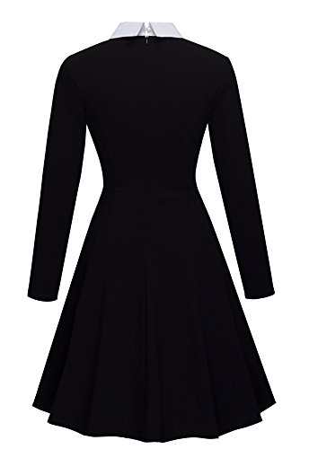HOMEYEE Women's Elegant Long Sleeve Lapel Slim Party Evening Retro A Line Vintage Swing Dress A016 (UK 10 = Size M, Black)