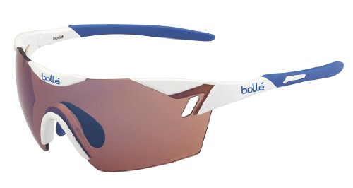 Bollé 6Th Sense Occhiali da Sole, Shiny White/Blu, M/L