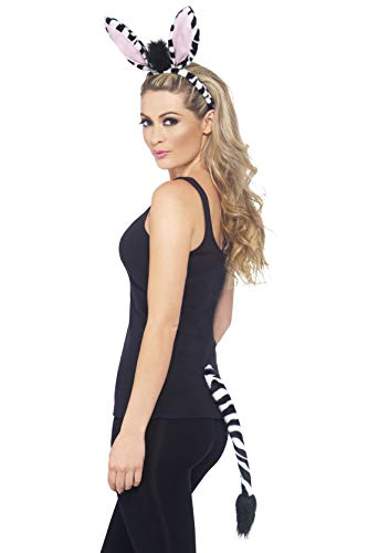 Zebra Kit Kostüm - Smiffys Unisex Zebra Kit, Ohren auf Haarreif und Schwanz, Schwarz-Weiß, 35598
