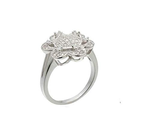 Beglie 925 Sterling Silber Damen Ring Solitärring Verlobung Hochzeit Ring Blume Frauen Ring Weihnachts Geschenk Weiß Ring Damen Weinrot Größe 49 (15.6)