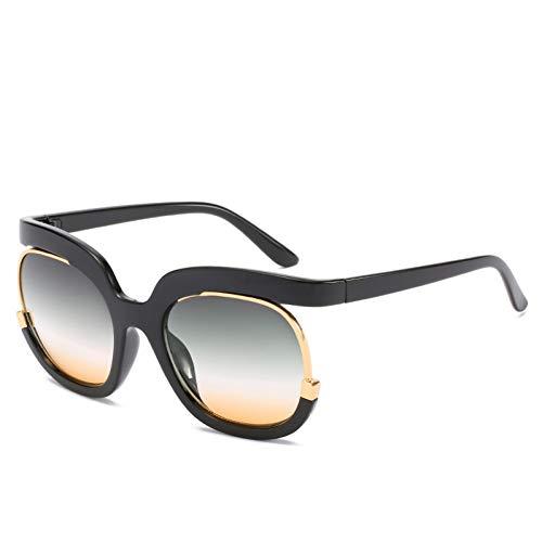Taiyangcheng Polarisierte Sonnenbrille Übergroße Sonnenbrille Frauen Vintage Marke Cat Eye Half Frame Sonnenbrille Männer Weibliche Dame Shades New Uv400,schwarz grün gelb